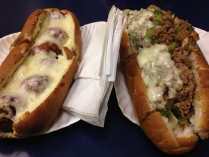 My meatball sub (left) and Caleb's steak sub (right).